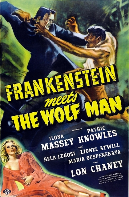 Original promotional poster for Frankenstein Meets the Wolf Man