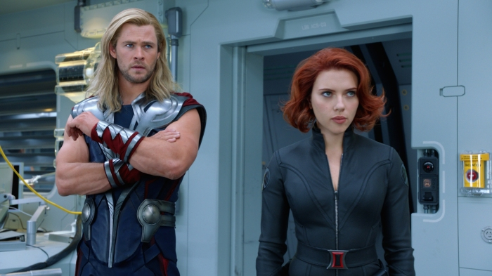 Chris Hemsworth's Thor and Scarlett Johansson's Black Widow in The Avengers